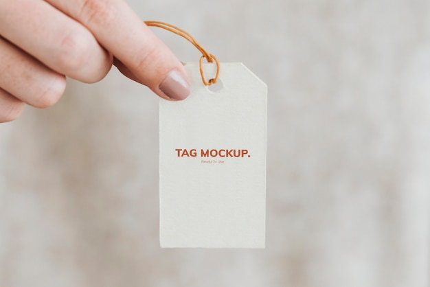 Closeup of gift tag mockup