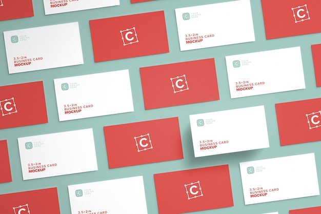 Closeup layout of business card mockups for brand identity