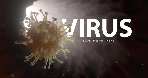 Closeup of microscopic virus and virus protection