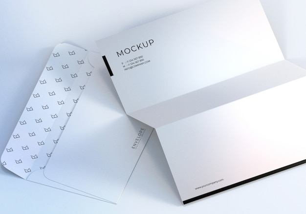 Closeup monarch envelope and letterhead design mockup