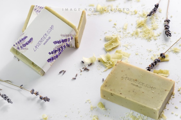 Closeup of natural herbal soap mockup with lavender flowers