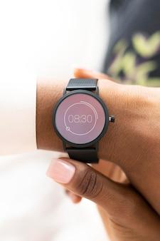 Closeup of a smartwatch on a woman's wrist
