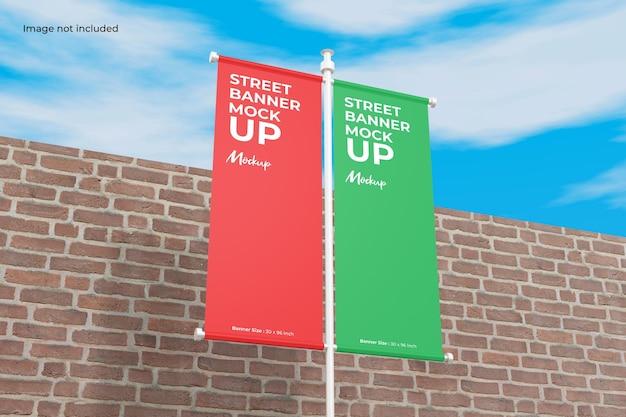 Closeup street banner mockup