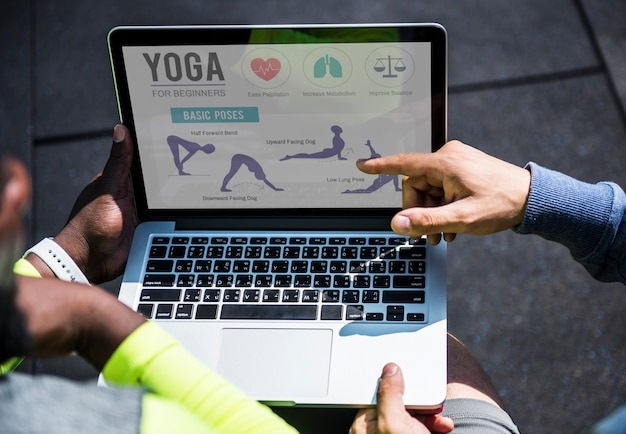 Closeup of yoga instruction on digital device