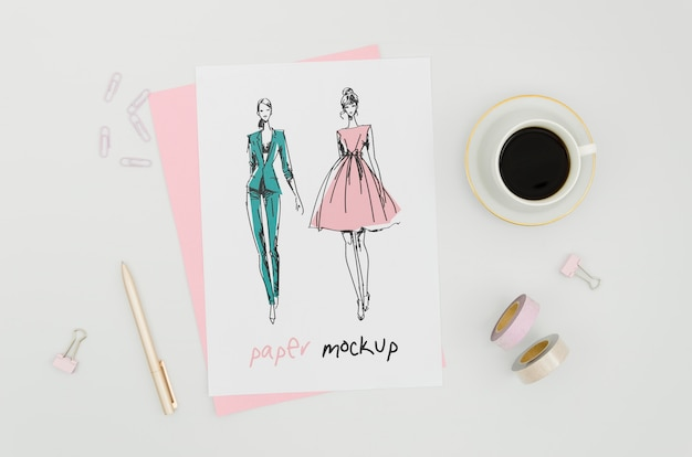 Clothing designer and cup of coffee mock-up