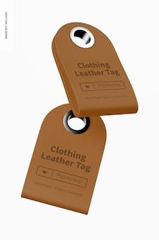 衣類革タグモックアップ、フローティング