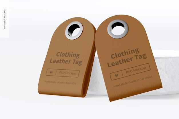 衣類革タグモックアップ