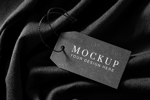 Clothing mock-up tag on soft fabric