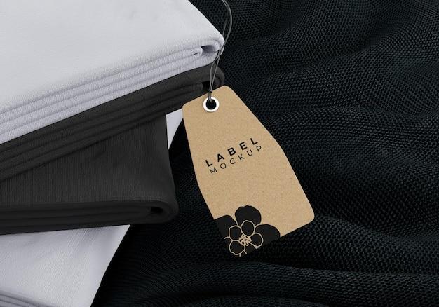Clothing mockup tag on fabric