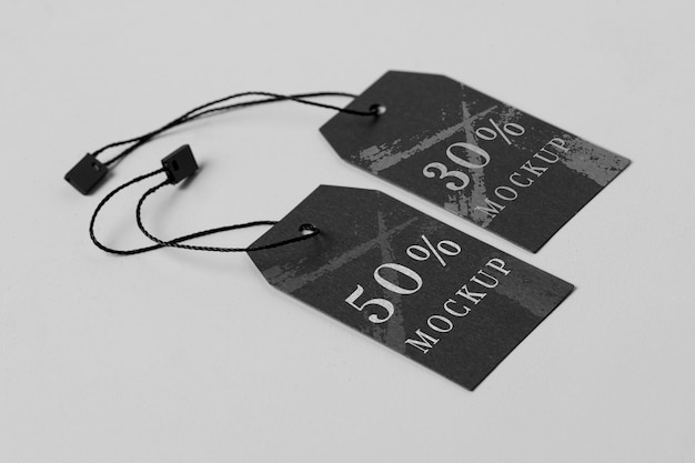 Clothing modern black tag mock-up high view