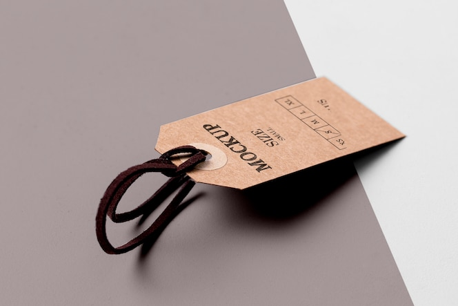 clothing size tag mock-up and shadows