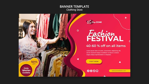 Clothing store concept banner template
