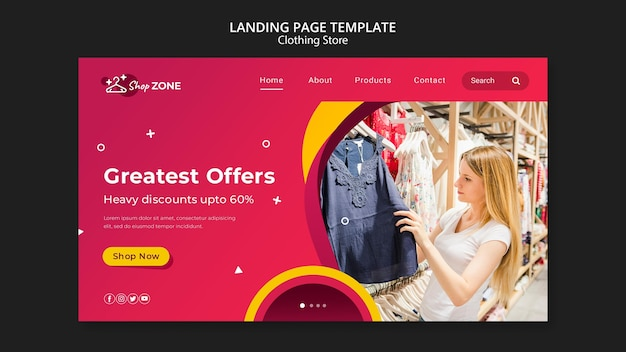 Clothing store concept landing page template