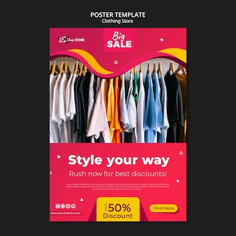 Clothing store concept poster template