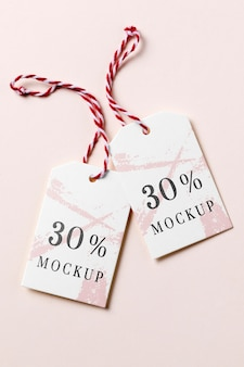 Clothing tag mock-up with discount