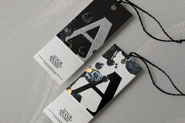 Clothing tags marble mockup psd in black for fashion brands diy experimental art