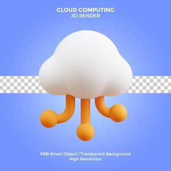 클라우드 컴퓨팅 3d 렌더링 그림 격리 된 프리미엄 psd