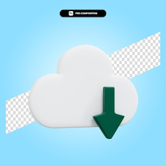 Cloud download 3d render illustration isolated