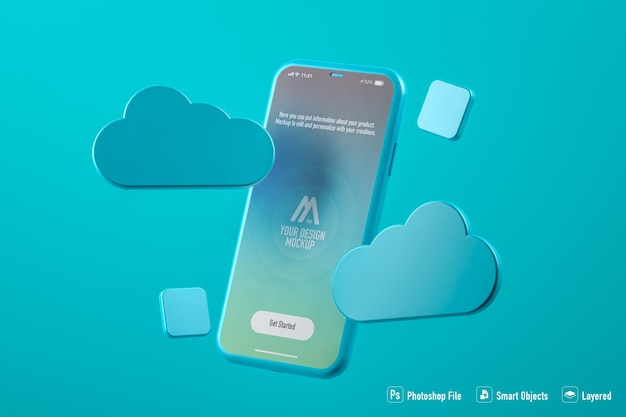 Cloud mobile application mockup isolated on blue background