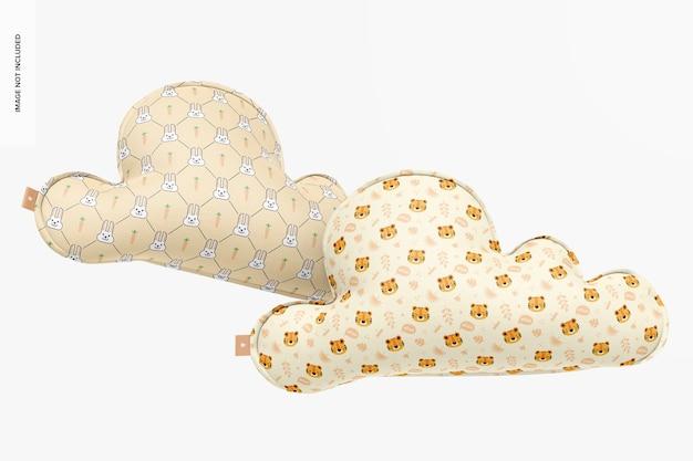 Мокап подушек облака, плавающий Premium Psd