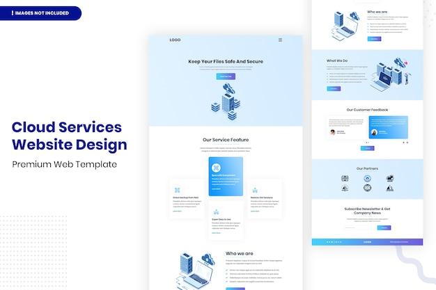 Шаблон дизайна веб-сайта облачных сервисов