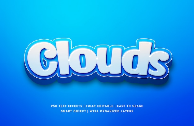 Clouds cartoon 3d text sty