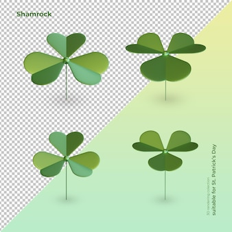 Clover 3d rendering elements as st. patrick's day symbol