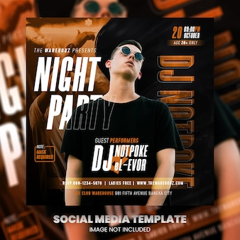 클럽 dj 파티 전단지 소셜 미디어 게시물 및 웹 배너 프리미엄 psd 프리미엄 psd