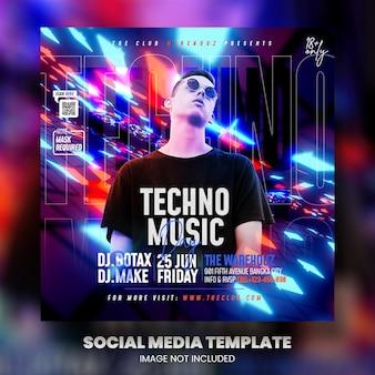 Клуб dj party flyer сообщение в социальных сетях и веб-баннер premium psd