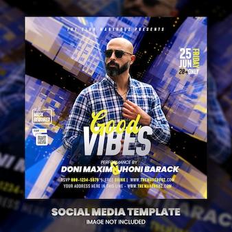 Клуб dj party flyer публикация в социальных сетях и веб-баннер premium psd