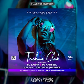Публикация в социальных сетях и шаблон веб-баннера club dj party flyer