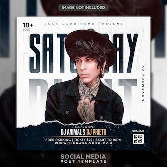 Публикация в социальных сетях и шаблон веб-баннера club dj party flyer Premium Psd