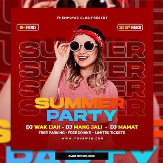 Клуб dj party flyer сообщение в социальных сетях и веб-баннер