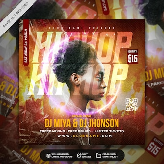 Club dj party flyer social media post and web banner template