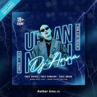 Club dj party flyer social media post and web banner
