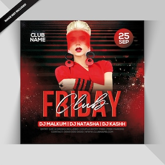 Club friday night party flyer