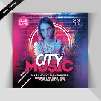Club music party invitation or square flyer template