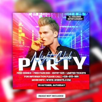 Club night dj party flyer social media post and web banner premium psd