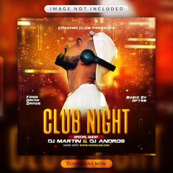 Club night party flyer or social media promotional template