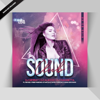 Club sound dj party flyer