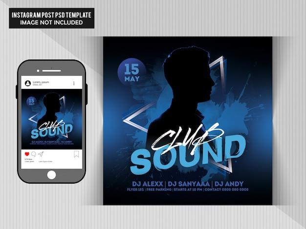 Club sounds party flyer для поста в instagram