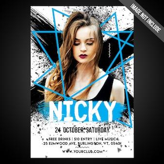 Печать готового cmyk artist flyer / плакат с редактируемыми объектами