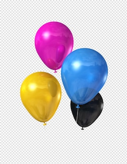 Cmyk colored balloons isolated on white