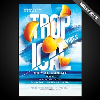 Печать готовая cmyk tropical vibes flyer / плакат с редактируемыми объектами