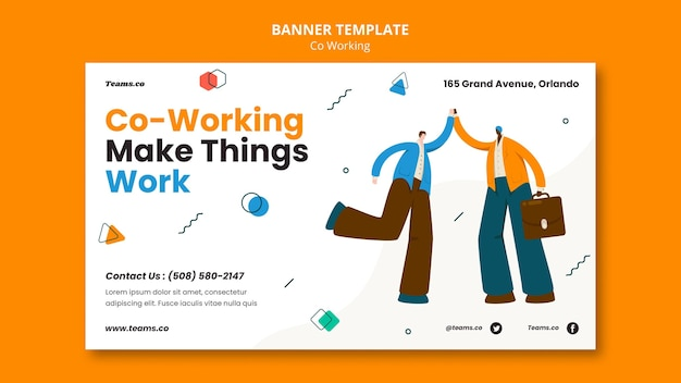 Modello di banner orizzontale del concetto di co-working