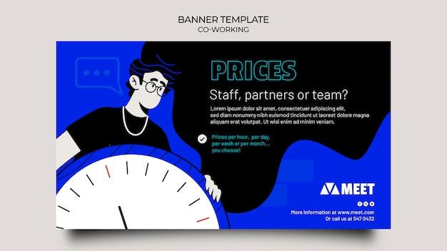 Co-working horizontal banner template