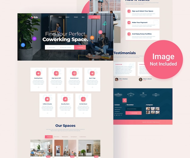 Co-working office space directory website psd template