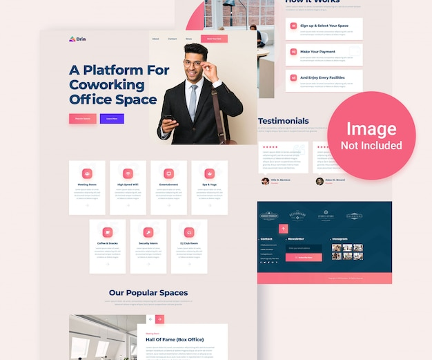 Co-working office space website psd template