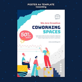 Co-working print template illustrated