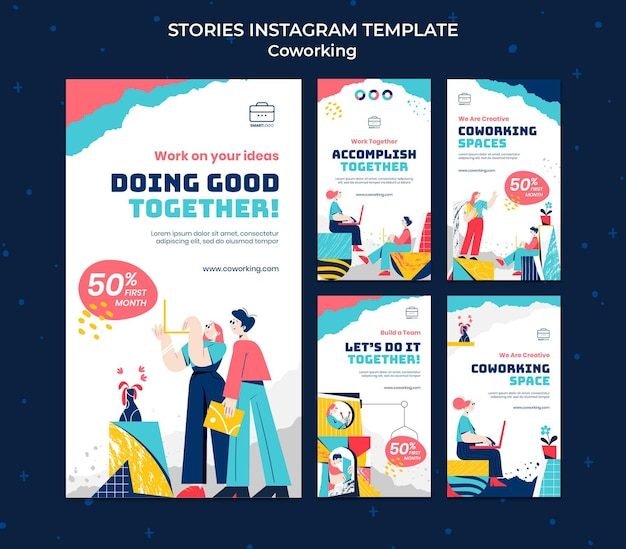 코 워킹 소셜 미디어 이야기 삽화